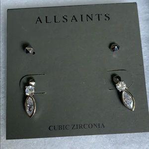 All Saints stud earings cubic zirconia